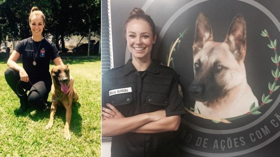 """Paolla Oliveira em treinamento para viver a policial Jeiza em """"A Força do Querer"""" - Reprodução/Twitter/gloriafperez"""