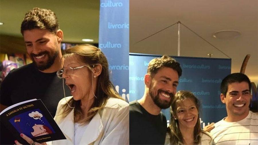 """Denise com os filhos Cauã e Pável Reymond no lançamento do seu livro """"A Sandália de Saltinho"""" no Rio - Arquivo Pessoal"""