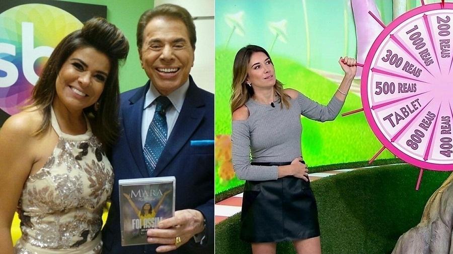 """Mara Maravilha com Silvio Santos e Rebeca Abravanel no """"Bom Dia & Cia."""" - Montagem/UOL"""