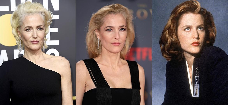 """Três tons de Gillian: raízes brancas no Globo de Ouro 2018, loira total em 2017 e ruiva nos anos 90, em """"Arquivo X"""" - Getty Images/Reprodução"""