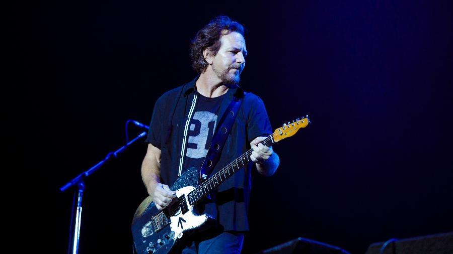 Eddie Vedder durante a apresentação do Pearl Jam no Lollapalooza 2018 - Mariana Pekin/UOL