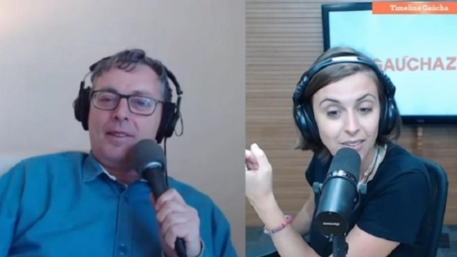 Os apresentadores David Coimbra e Kelly Matos, do Timeline, da Rádio Gaúcha - Reprodução