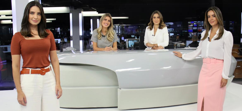 """Kalinka Schutel, Joana Treptow, Lara Canepa e Paloma Tocci, no """"Jornal da Band"""" - Divulgação/Band"""