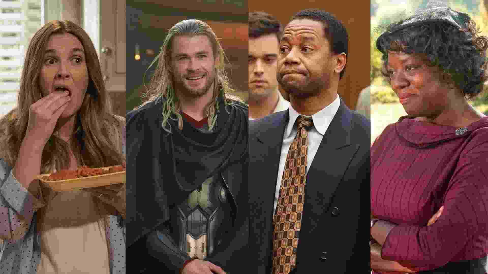 """Cena da série """"Santa Clarita Diet"""", do filme """"Thor: O Mundo Sombrio"""" (2013), de Alan Taylor, da série """"American Crime Story"""" (2016)e do filme """"Histórias Cruzadas"""" (2011), de Tate Taylor - Reprodução/Montagem"""