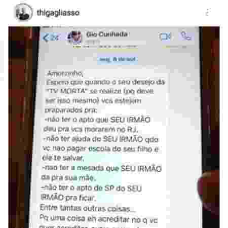 """Thiago Gagliasso discute com Gio Ewbank e expõe conversa: """"Verdade aparece"""""""