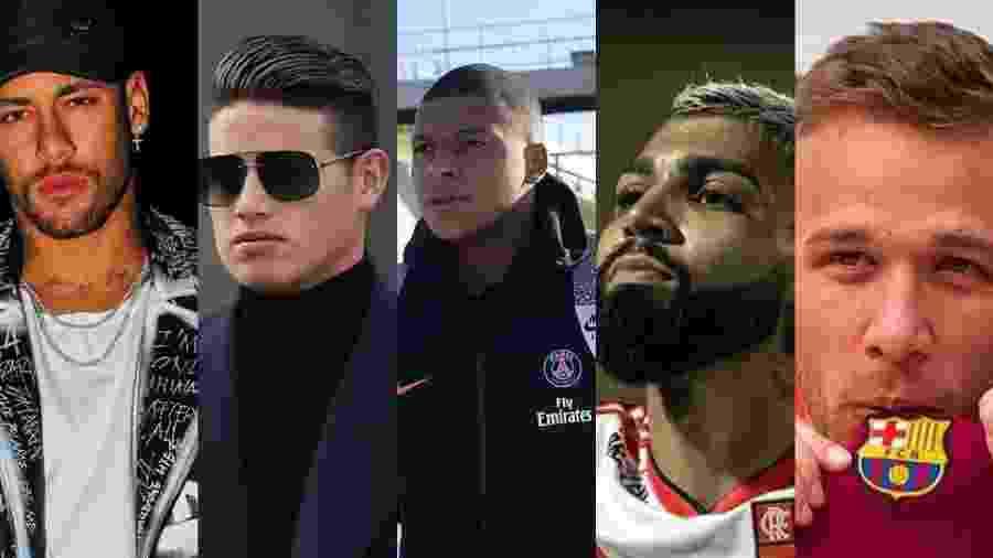Neymar, James Rodriguez, Mbappe, Gabigol e Arthur estão na lista dos solteiros mais cobiçados - Reprodução/Instagram/Montagem UOL