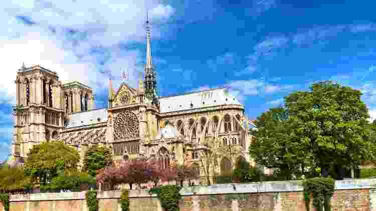 Fachada lateral da catedral de Notre-Dame antes do incêndio ocorrido no dia 15 de abril - iStock