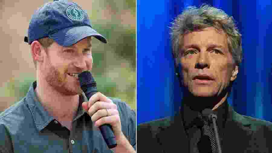 Príncipe Harry e Bon Jovi - AFP e Reuters
