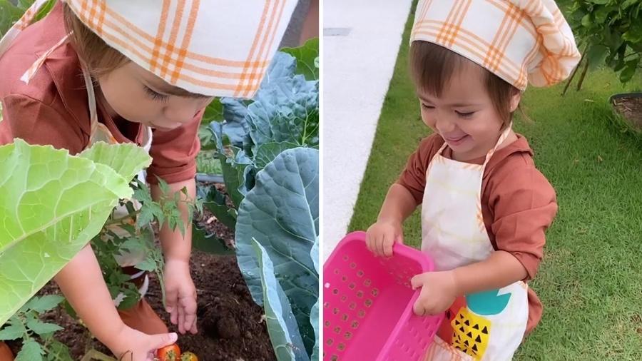 Zoe, filha de Sabrina Sato, brinca em horta