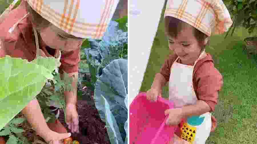 Zoe, filha de Sabrina Sato, brinca em horta - Reprodução/Instagram