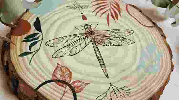 Libélula desenhada em tronco de árvore - Arquivo Pessoal - Arquivo Pessoal
