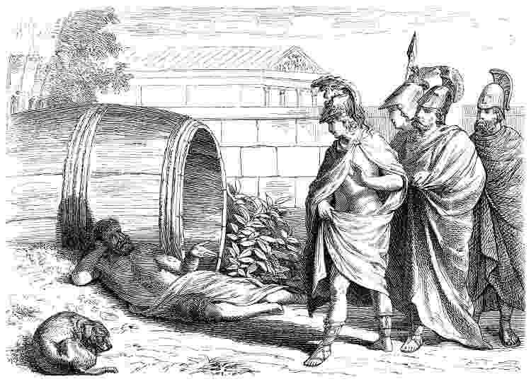 O encontro de Diógenes de Sinope, deitado em frente a um barril de vinho, e Alexandre o Grande - Getty Images - Getty Images