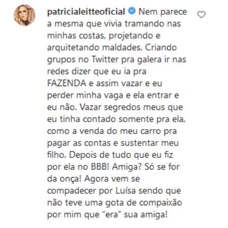 """Comentário de Patrícia Leitte sobre Ana Paula Costa, a """"Bruxa"""" do """"BBB 18"""" (TV Globo) - Reprodução/Instagram - Reprodução/Instagram"""