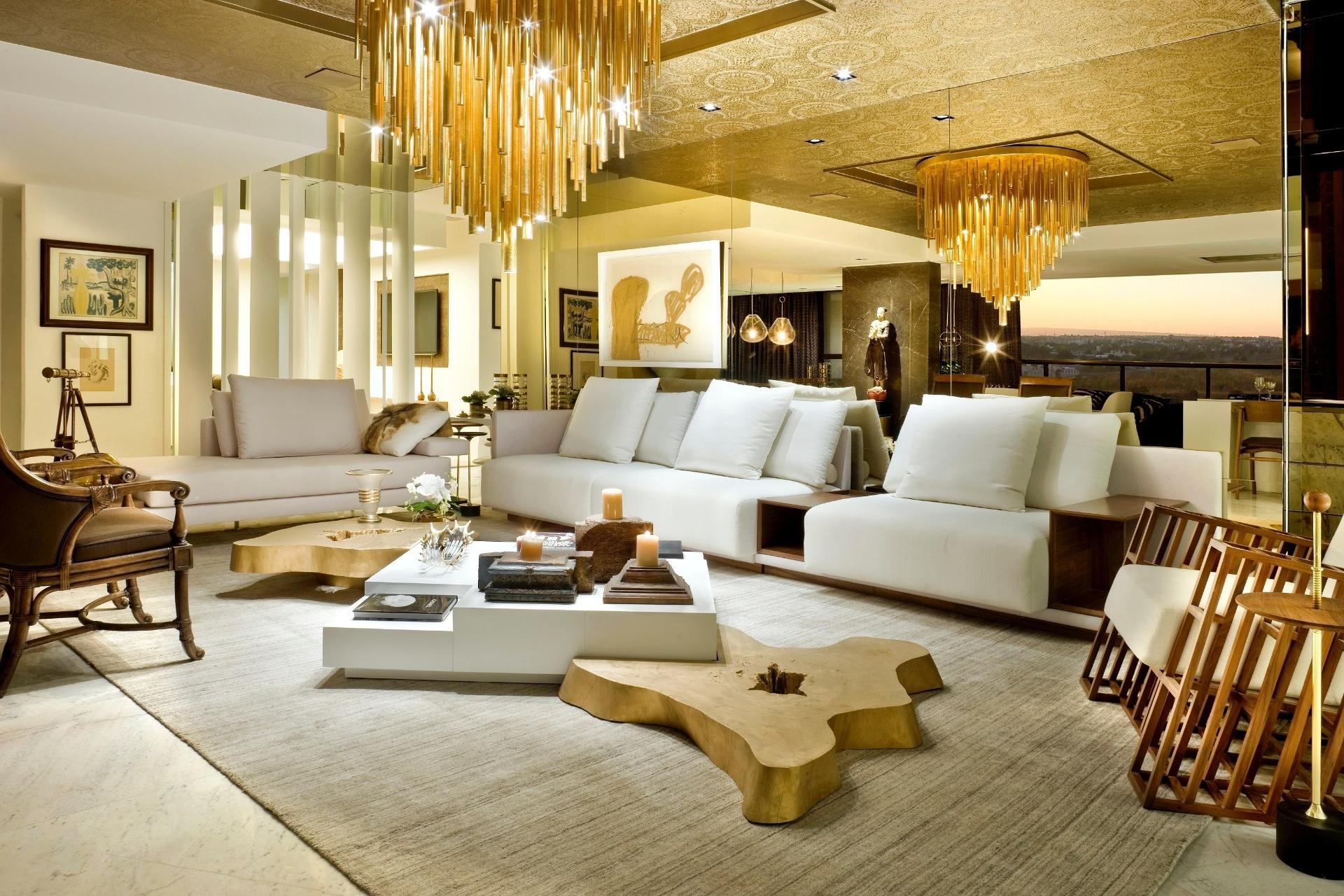 Salas De Estar Grandes Sugest Es Para Quem Tem Bastante Espa O  -> Fotos Parede Revestida De Sala
