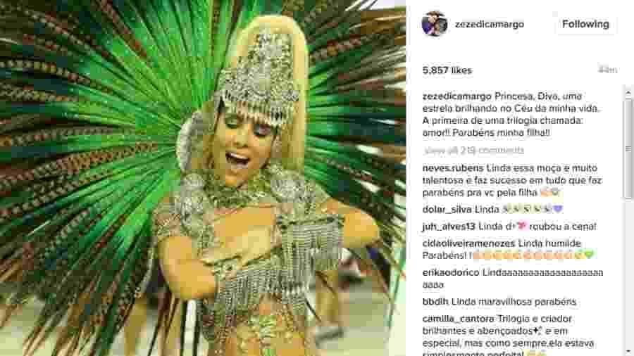 Zezé Di Camargo compartilha foto de Wanessa desfilando na Mocidade e a elogia - Reprodução/Instagram/zezedicamargo