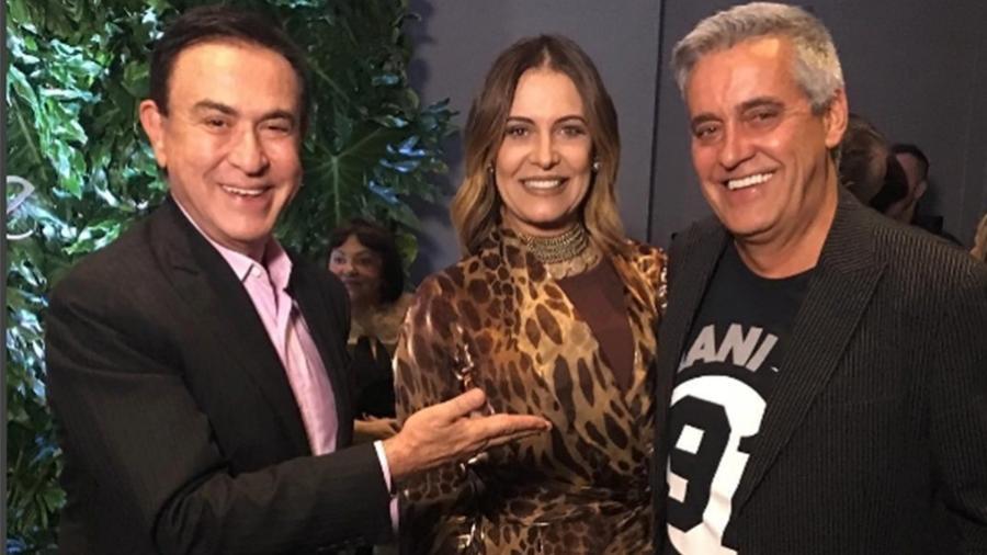 Amaury Jr. posa com o casal Patrícia e Mauro Naves no Hotel Palácio Tangará em São Paulo - Reprodução/Instagram