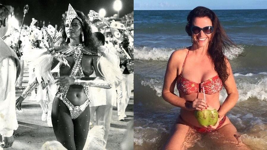 Luma Oliveira em 1987, no desfile da Caprichosos de Pilares, e em 2017