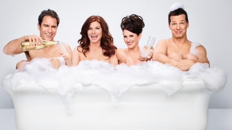 "Eric McCormack (Will), Debra Messing (Grace), Megan Mullally (Karen) e Sean Hayes (Jack), da série ""Will & Grace"" - Divulgação"