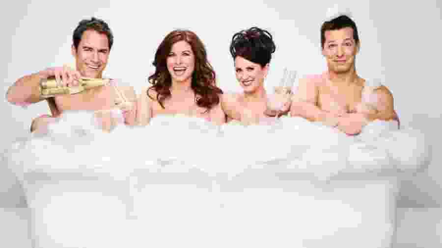 "Eric McCormack (Will), Debra Messing (Grace), Megan Mullally (Karen) e Sean Hayes (Jack), da série ""Will & Grace"" - Divulgação"