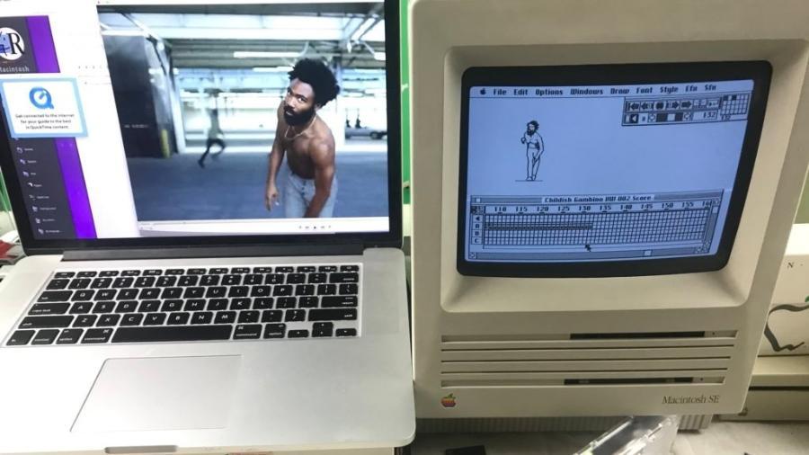 """Animador cria """"This Is America"""" usando dois computadores Macintosh, um 128K e um SE - Reprodução/Twitter"""