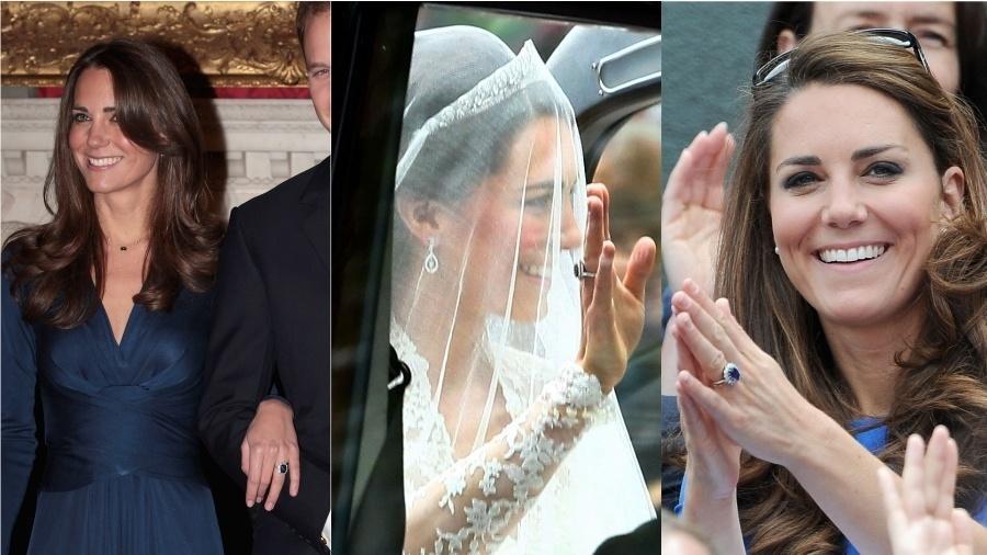 """Desde que foi pedida em casamento por William, em 2010, Kate não tira do dedo o anel de safira e diamantes que pertenceu à Diana de Gales: a peça foi usada durante todo o noivado, no dia do casamento e em diversos eventos """"comuns"""" nos últimos anos. O símbolo da união com o duque de Cambridge foi o mesmo que marcou o noivado de Lady Di com príncipe Charles, em 1981."""