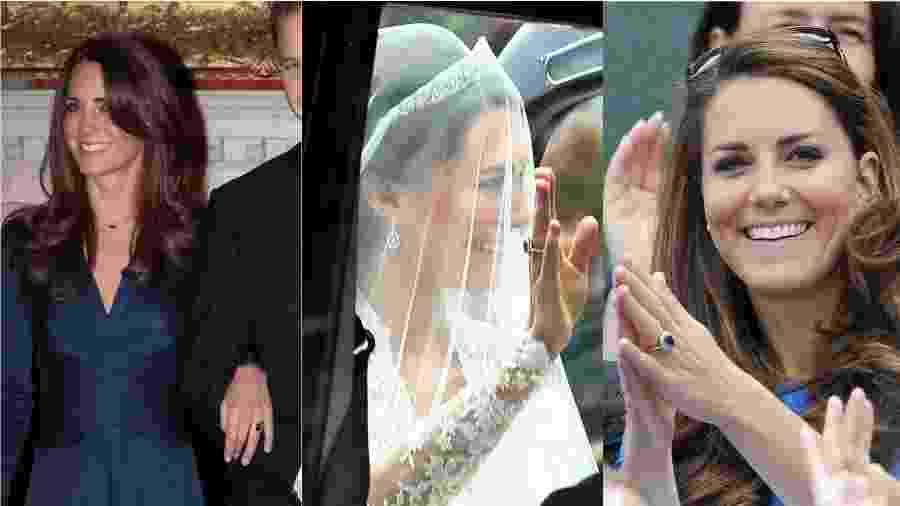 """Desde que foi pedida em casamento por William, em 2010, Kate não tira do dedo o anel de safira e diamantes que pertenceu à Diana de Gales: a peça foi usada durante todo o noivado, no dia do casamento e em diversos eventos """"comuns"""" nos últimos anos. O símbolo da união com o duque de Cambridge foi o mesmo que marcou o noivado de Lady Di com príncipe Charles, em 1981.  - Getty Images"""