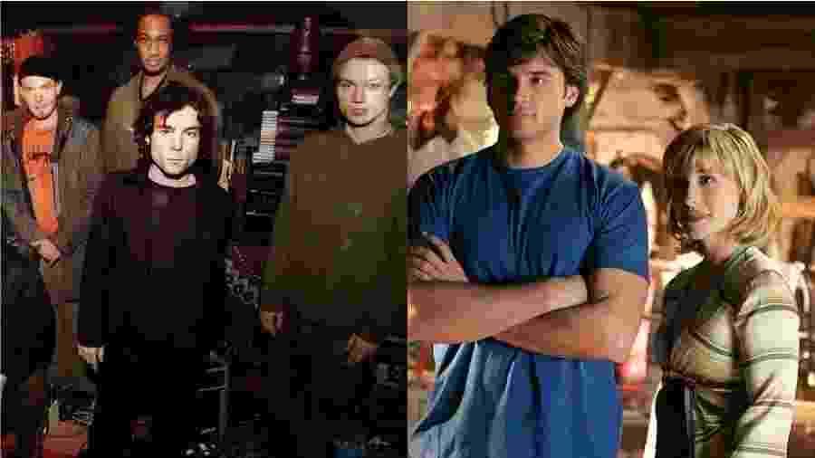 """Remy Zero (esq.) e Tom Welling e Allison Mack (dir.), de """"Smallville"""" - Reprodução"""