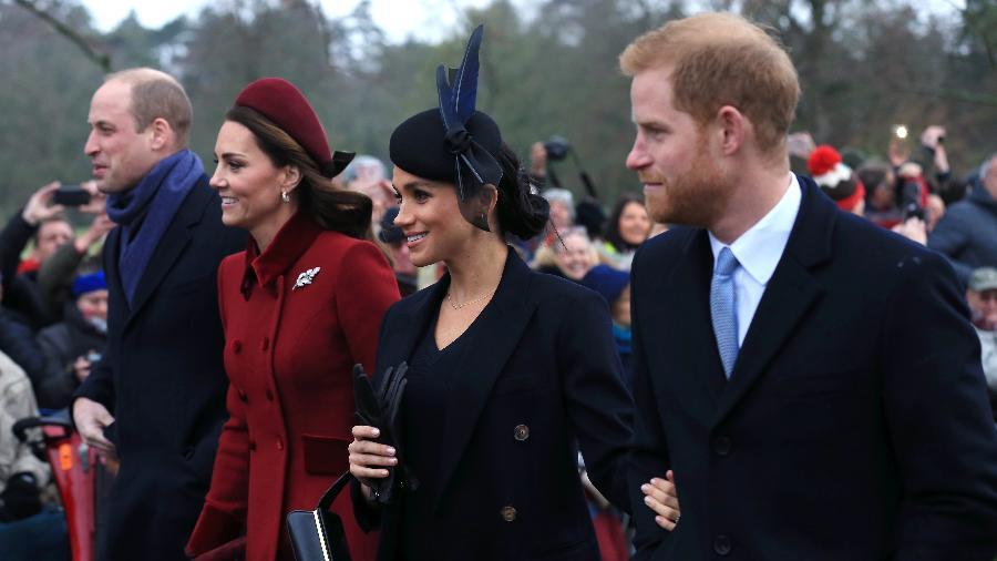 Príncipe William, Catherine, a duquesa de Cambridge, Meghan, a duquesa de Sussex, e príncipe Harry - Getty Images