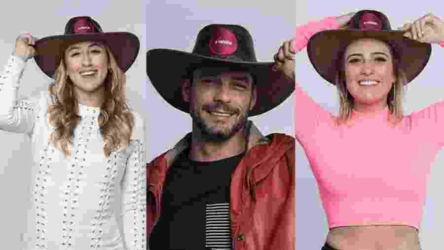 Bifão, Diego Grossi e Tati Dias estão na quarta roça de A Fazenda 2019 - Montagem/Antonio Chahestian/ Record TV