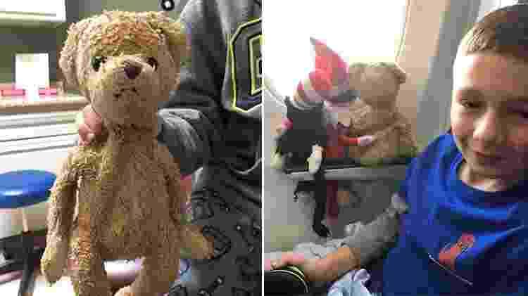 Grayson com o amigo Teddy, antes do desparecimento do urso de pelúcia - Reprodução/Facebook