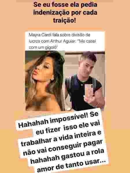 Mayra Cardi brinca sobre traições de Arthur Aguiar - Reprodução/Instagram - Reprodução/Instagram