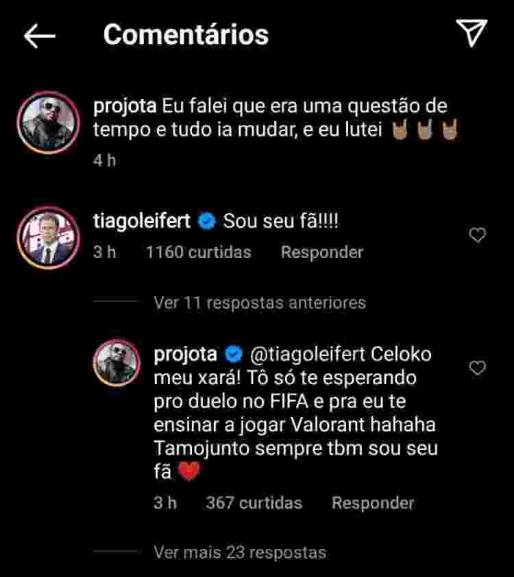 Tiago Leifert comentou foto de Projota - Reprodução/Instagram @projota - Reprodução/Instagram @projota