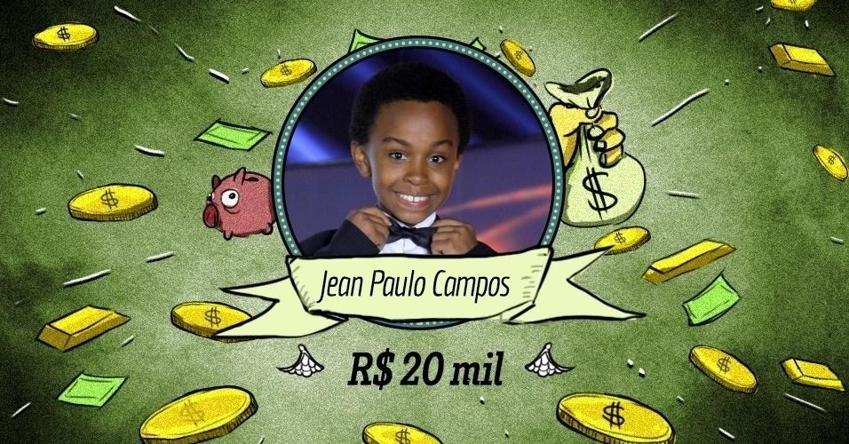 JEAN PAULO CAMPOS: Seu salário também deve estar na casa dos R$ 20 mil mensais. Mas só porque numa conturbada negociação seus pais aceitaram assinar com a Record, o que fez com que Silvio o chamasse de volta com um dinheiro extra. Mas Jean merece, porque é um menino muito talentoso e tem um grande futuro pela frente