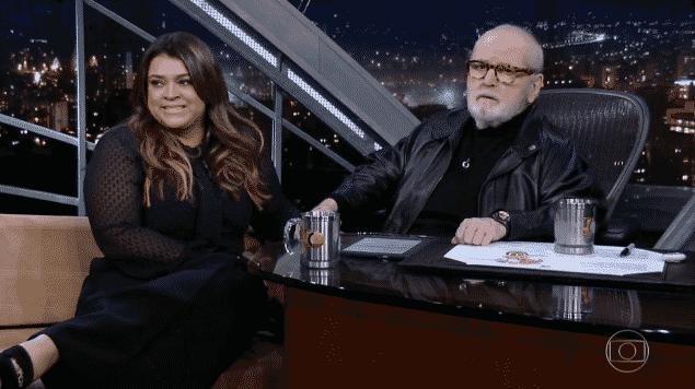 26.ago.2016 - Preta Gil é entrevistada por Jô Soares na Globo - Reprodução/TV Globo