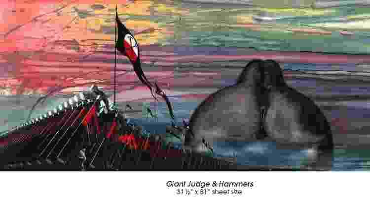 """""""Giant Judge and Hammers"""" é outra obra de Gerald Scarfe para o filme """"The Wall"""" - Divulgação/Gerald Scarfe - Divulgação/Gerald Scarfe"""