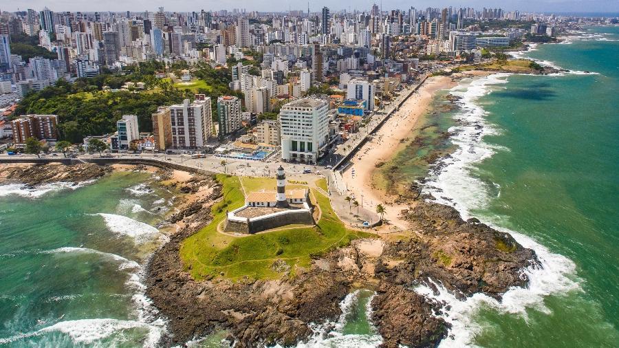 Imagem aérea mostra o Farol da Barra, em Salvador - Jeilson Barreto Andrade/Getty Images