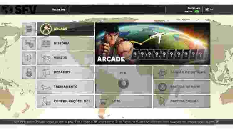 Street Fighter V Arcade Edition - nova interface - Reprodução - Reprodução