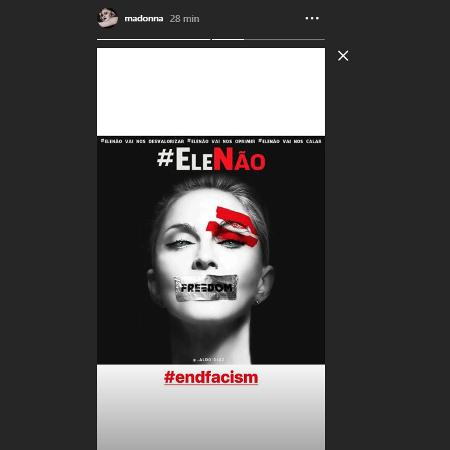Madonna posta #EleNão em seu Instagram - Reprodução/Instagram