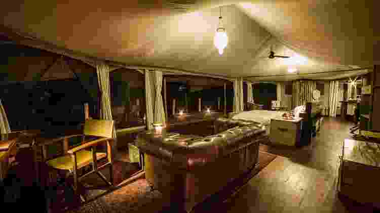 Uma das luxuosas e sustentáveis tendas do Mara Plains Camp - Divulgação/GreatPlainsConservation - Divulgação/GreatPlainsConservation