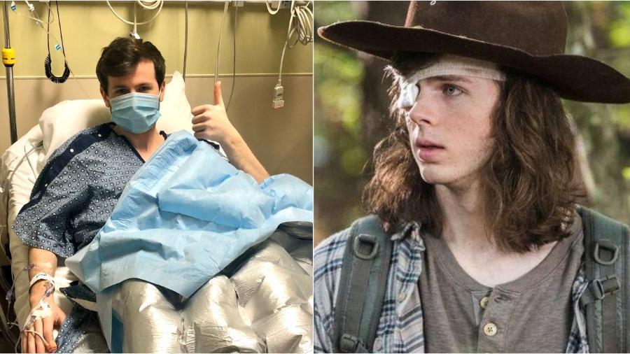 """Chandler Riggs, intérprete de Carl em """"The Walking Dead"""", foi internado e passou por cirurgia - Reprodução/Twitter"""