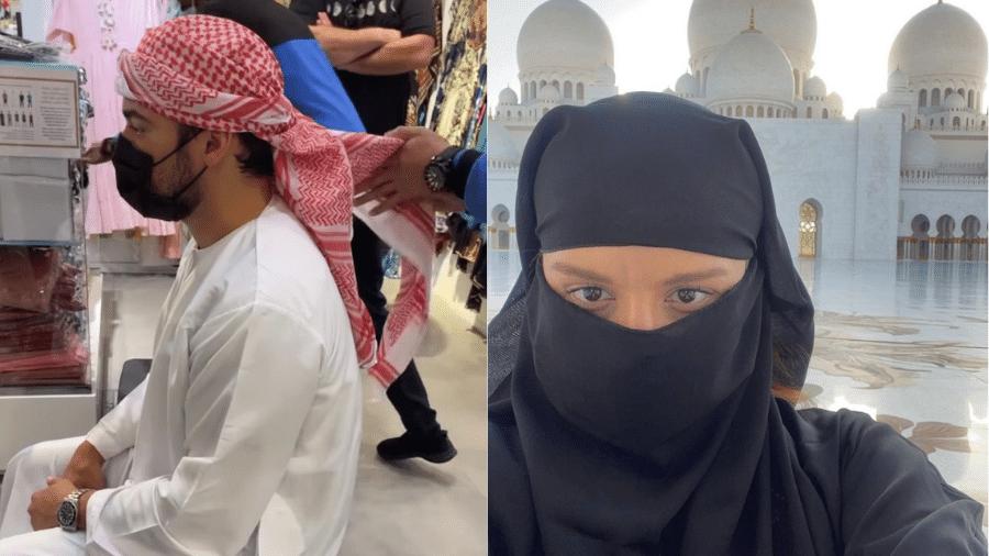 Fernando e Maiara se vestiram com roupas da tradição muçulmana para visitarem maior Mesquita de Dubai - Reprodução/Instagram/@maiara