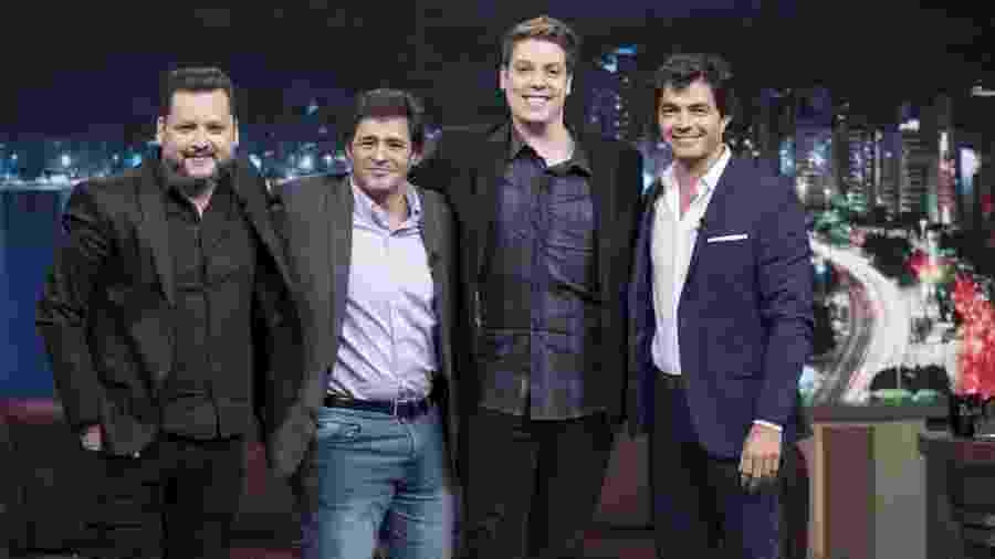 Os ex-paquitos Egon, Robson e Marcelo no programa do Fábio Porchat - Edu Moraes/Record TV
