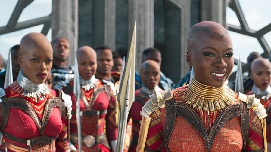 """As Dora Milaje, guardiãs reais no filme """"Pantera Negra"""" (2018), foram inspiradas em guerreiras africanas reais - Divulgação"""