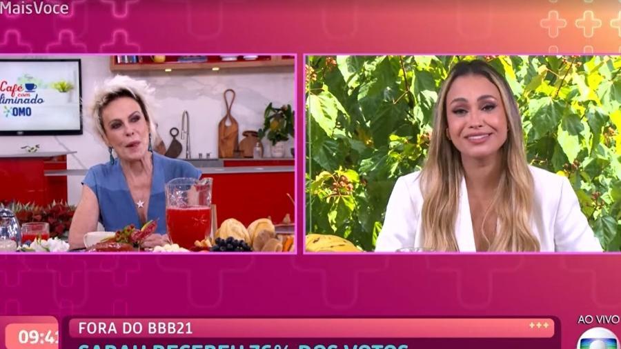 """BBB 21: Ana Maria Braga entrevistou Sarah no """"Mais Você"""" - Reprodução/TV Globo"""