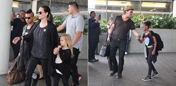 6.jul.2015 - Angelina Jolie e Brad Pitt são vistos circulando com os filhos no LAX Aeroporto, de Los Angeles (Estados Unidos). Nas fotos, o ator aparece segurando a mão da filha Zahara e a atriz com o estiloso Maddox