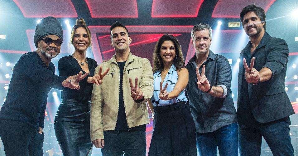 23.nov.2016 - Carlinhos Brown ,Ivete Sangalo, André Marques, Thalita Rebouças, Victor e Léo