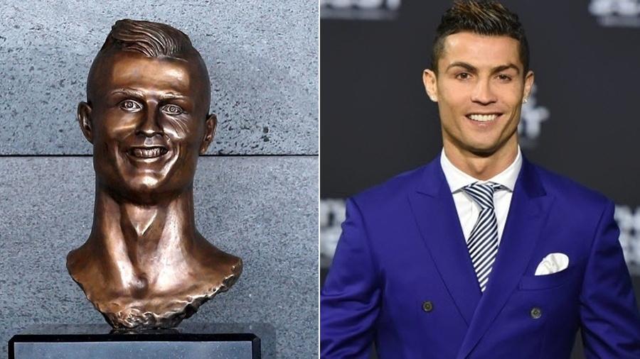 Escultura do busto de Cristiano Ronaldo está exposta em Portugal e que virou meme - Reuters/AFP