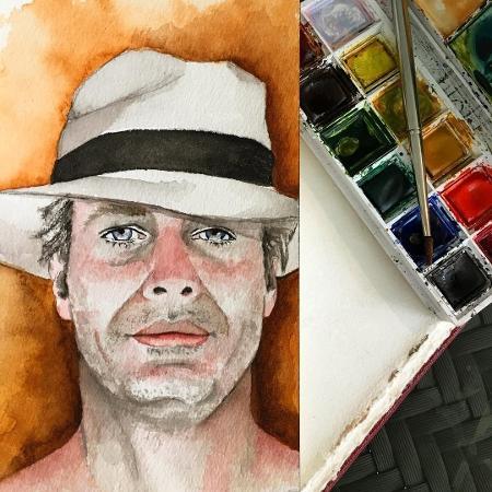 Pally Siqueira pinta retrato do namorado, Fábio Assunção - Reprodução/Instagram/pallysiqueira