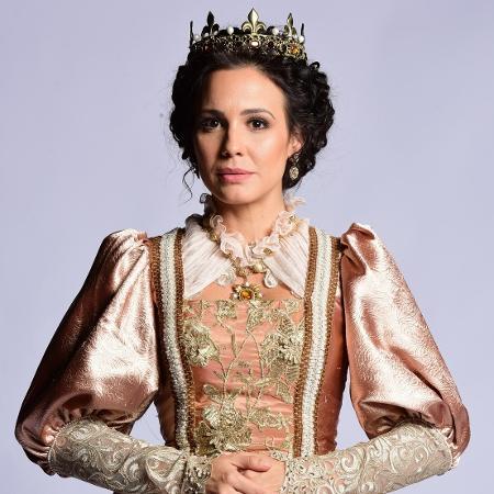 "Juliana Knust como rainha na novela ""Belaventura"" - Blad Meneghel/ Record TV"