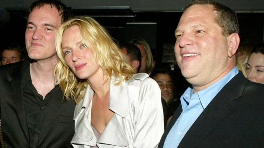 Quentin Tarantino, Uma Thurman e Harvey Weinstein durante um evento de cinema - Divulgação